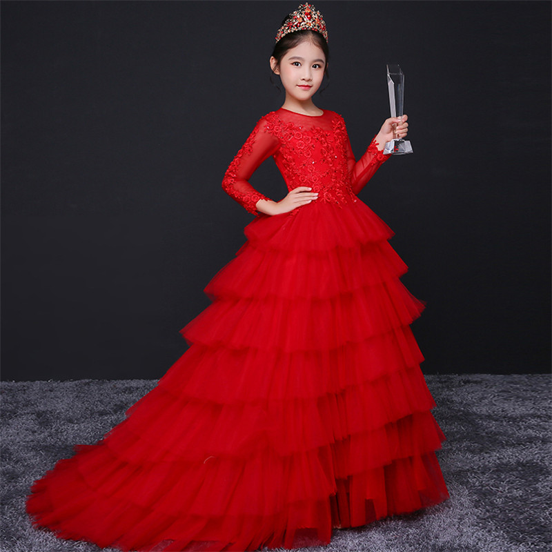 все цены на Children Girls Luxury Red Color Evening Party Model Show Princess Lace Long Tail Dress Teens Kids Birthday Wedding Party Dress онлайн