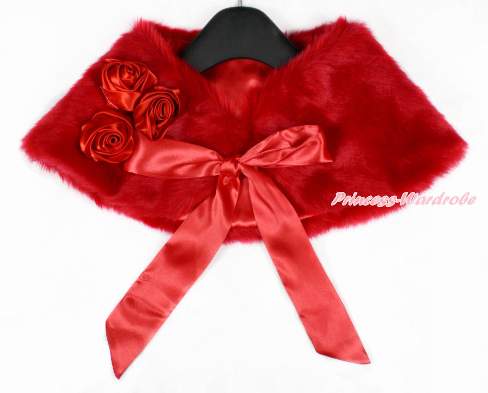 Red Rosettes & Red Ribbon with Red Soft Fur Stole Shawl Shrug Wrap Cape Wedding Flower Girl Shawl Coat MASH47