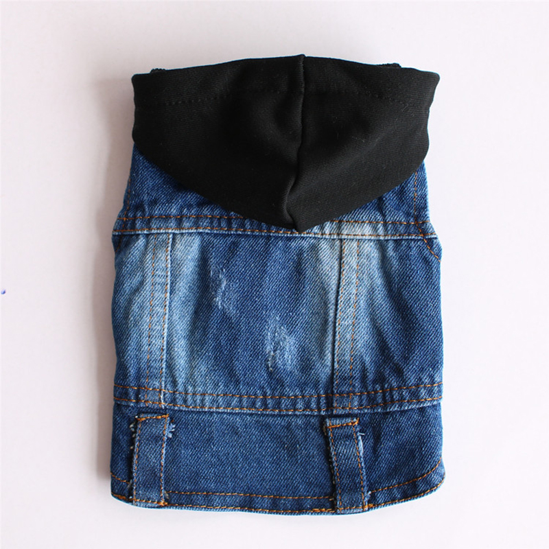 Classic Solid Color Denim Clothes for York Dogs Outdoor Windproof Puppy Hoodies Dogs Pets Clothing Fashion Cool Dog Jacket 10A in Dog Coats Jackets from Home Garden