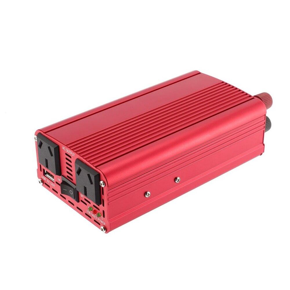 Новые DC 12 В к AC 240 В Мощность конвертер красный двойной Порты usb автомобиля Напряжение конвертер Алюминий сплав корпус автомобиля зарядное у...