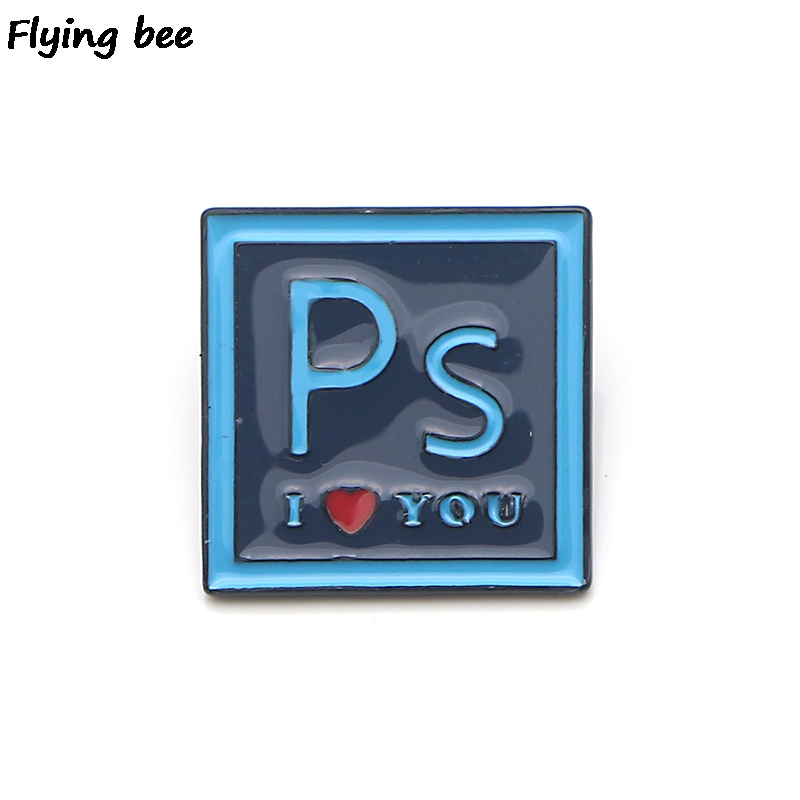 Flyingbee PS I LOVE YOU Letter Pin Brooch Enamel Pins For Shirt Backpack badge Personality Hat Funny Charm Jewelry X0148