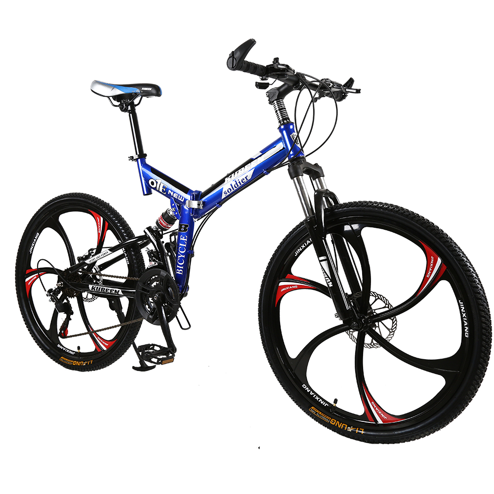 26 inches 21 Speed Folding Bicycle Male Female Student Mountain Bike Double Disc Brake Full Shockingproof 26 inches 21 Speed Folding Bicycle Male / Female / Student Mountain Bike Double Disc Brake Full Shockingproof Frame Brakes