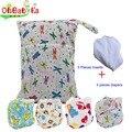 Ohbabyka reutilizáveis fraldas de pano do bebê 10 peças conjunto inclui 4 bolso Saco de Fraldas + 5 Inserções de Microfibra + 1 Molhado com Duplo bolso