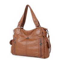 Luxury Soft Multi Pocket Shoulder Bags for Women 2019 High Quality PU Leather Shopping Handbags Ladies Fashion Winter Bags