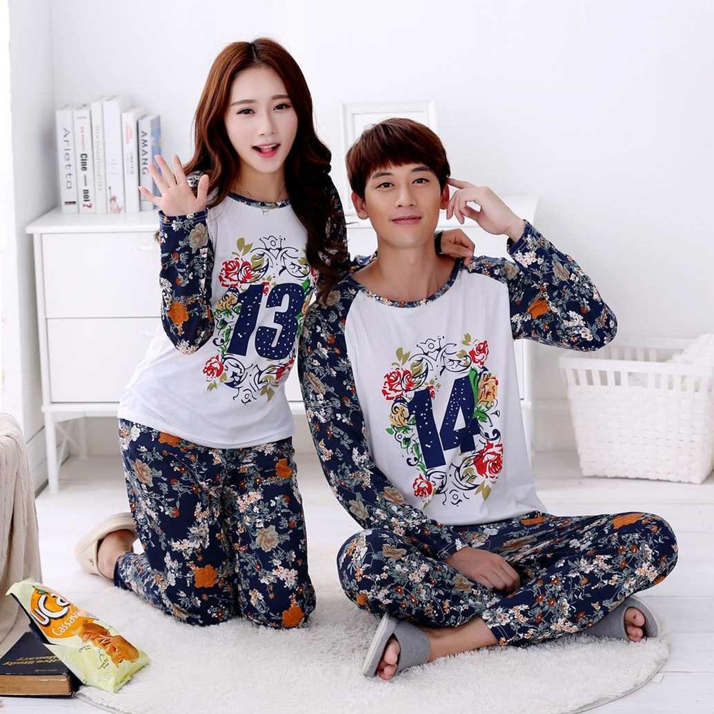 Spring Autumn Flower Print Couple Pajama Sets Women Pyjama Men Pijama Lover Long Sleeved Nightgown Suit