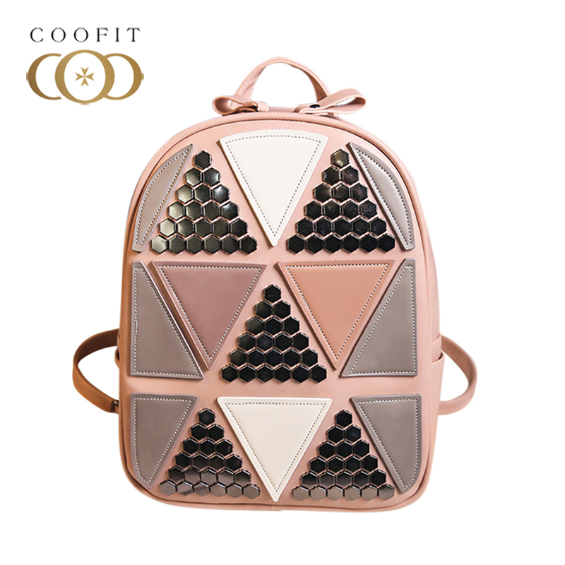 Coofit 2018 Stylish Womens Backpack Fashion Rivet Patchwork Design School Bagpack For College Student Casual PU Leather Daypack ...
