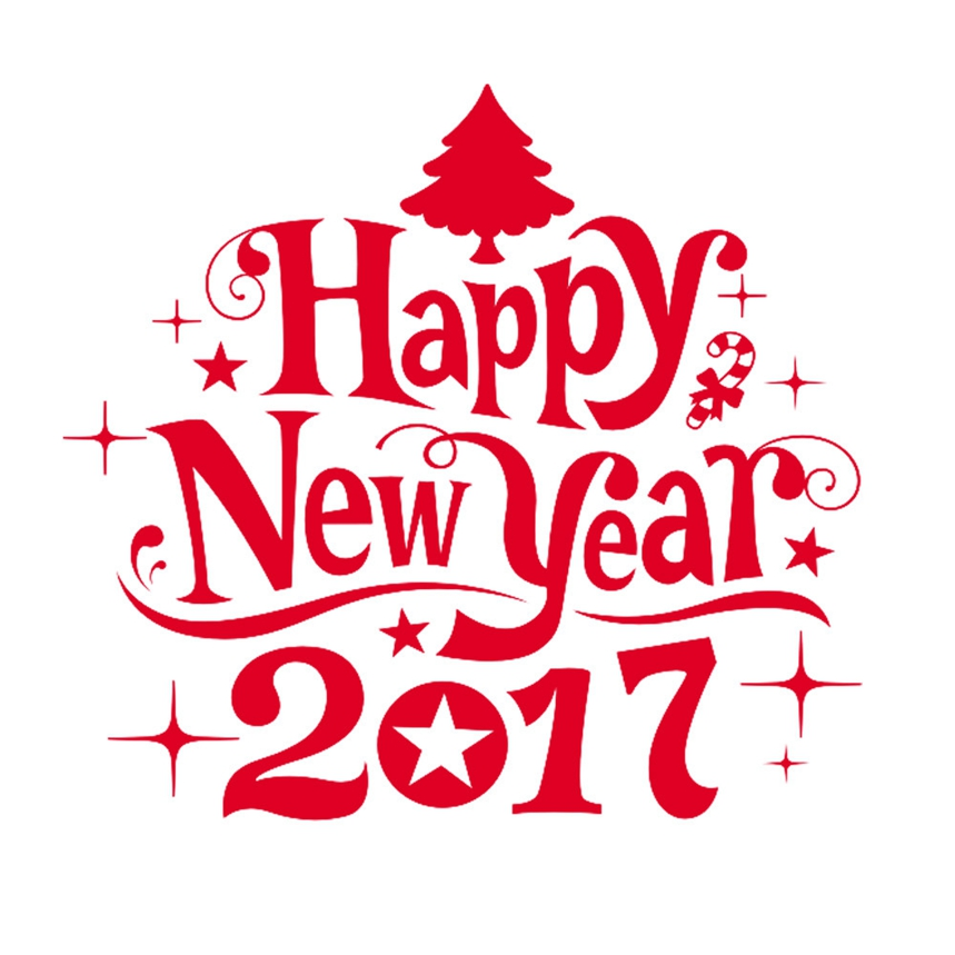 Top Grand Happy New Year 2017 Merry Christmas Tree Wall Sticker Home Shop Windows Decals Decor #A07