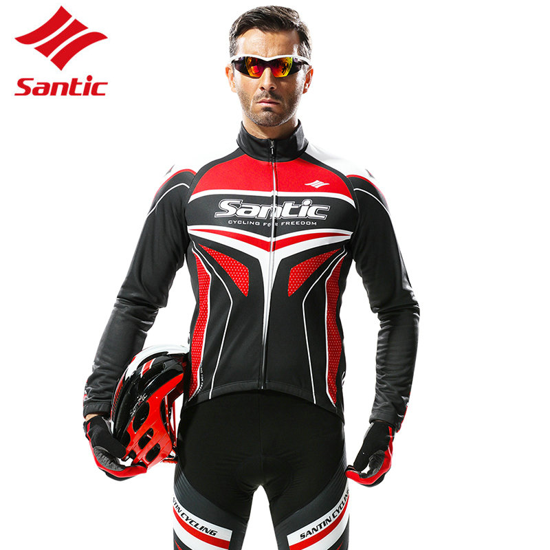 Santic Winter Cycling Jersey Set Men Full Long Sleeve MTB Bicycle Outdoor Sports Wear Windproof Quick-dry Jerseys Clothing santic cycling jersey kit long sleeve warm bicycle bike clothes outdoor sports quick dry seamless thermal underwear skinsuit