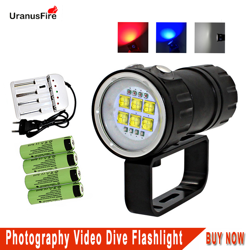 Uranusfire Powerful LED Diving Flashlight 18650 XPE 9090 20000lm Light Torch Waterproof Photography Video Dive scuba