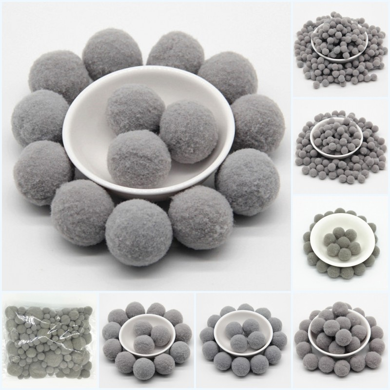 Gray Pompoms 8/10/15/20/25/30mm Fur Plush Ball Craft DIY Soft Pompon Wedding Home Garment Sewing On Cloth Accessories 20g