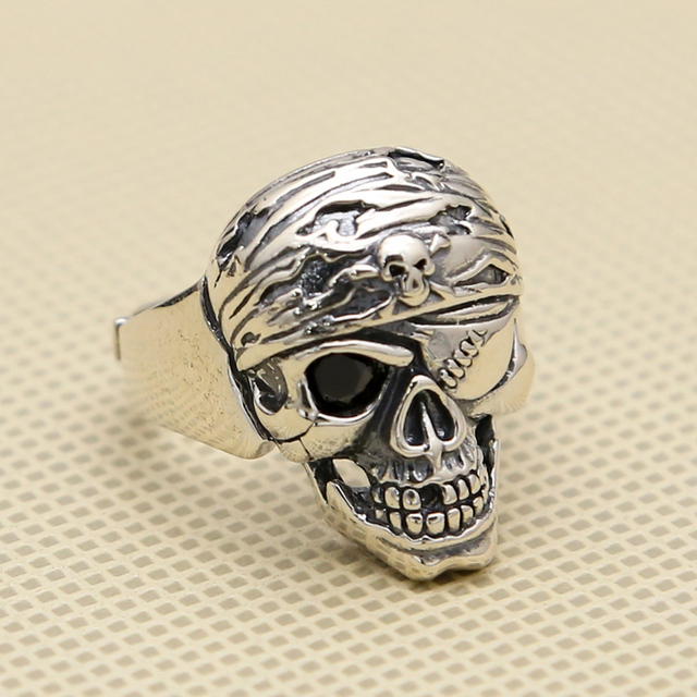 Punk Pirate Skull Solid 925 Sterling Silver Cuff Ring Men 24mm Wide Band Large Size Handmade Antique Silver 925 Jewelry Men,gift