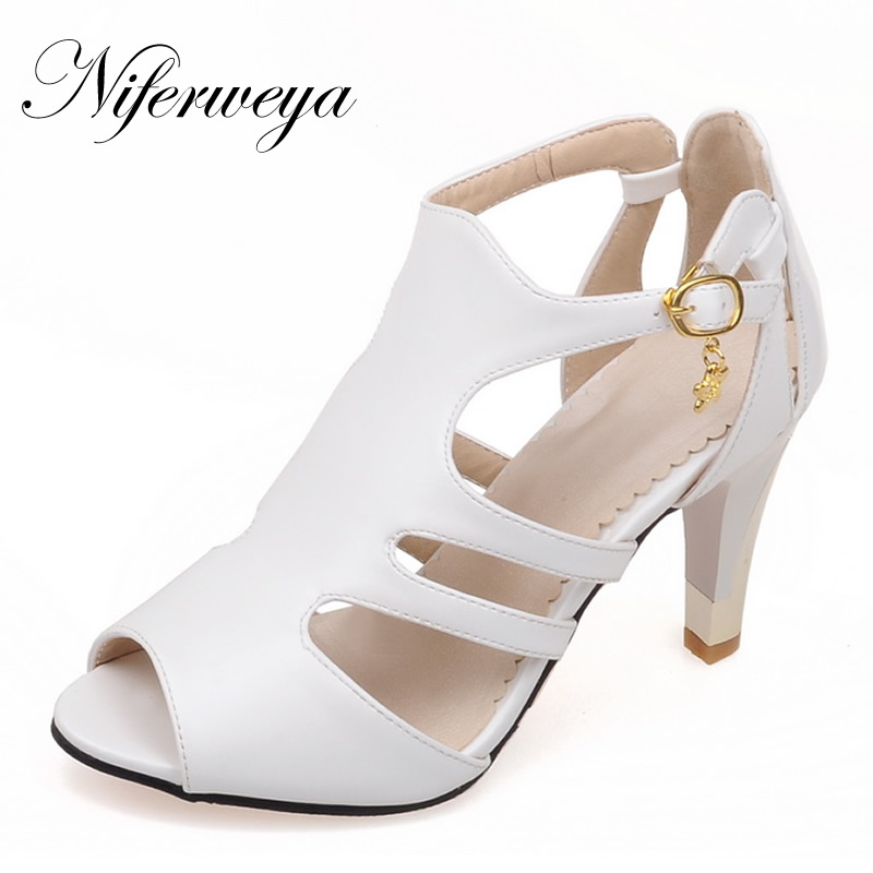 2017 New summer women pumps plus size 28-52 sexy Peep Toe Gladiator high heel shoes fashion Buckle Strap ladies party Sandals xiaying smile summer new woman sandals platform women pumps buckle strap high square heel fashion casual flock lady women shoes