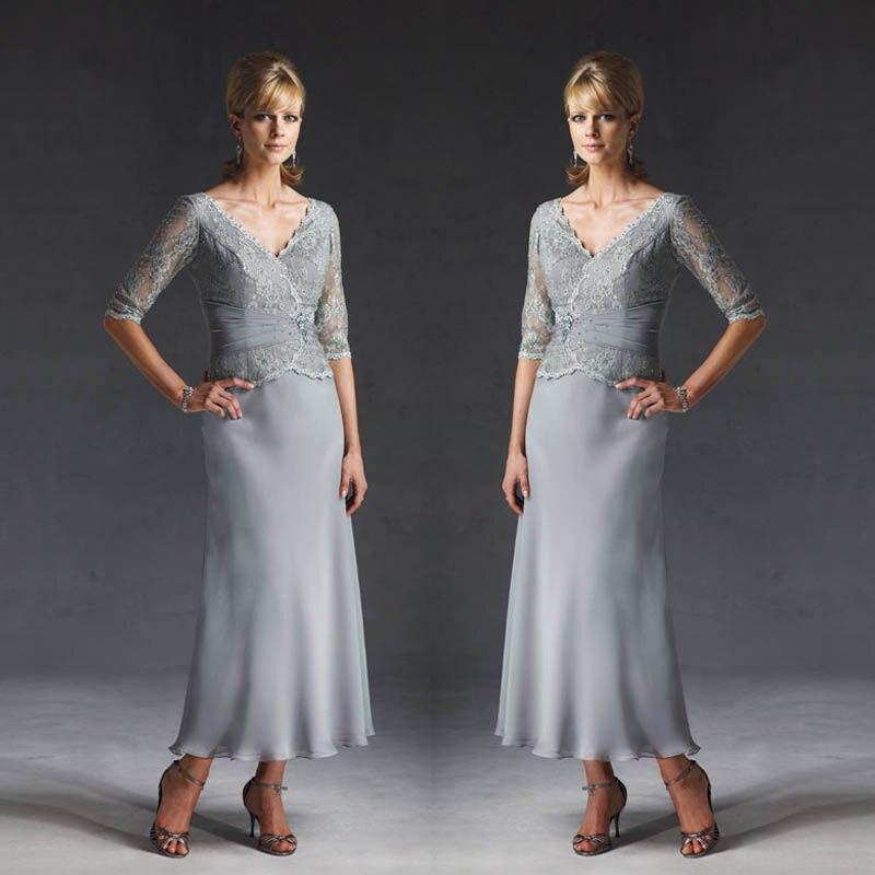 Gray Mother Bride Dresses Gowns Design V Neck Half Sleeves Silver ...