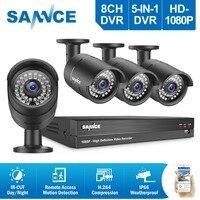 SANNCE 8CH 1080 P CCTV DVR система 4 шт. 2.0MP CCTV Камера Безопасности s ИК наружного видеонаблюдения камеры видеонаблюдения системы безопасности комплект
