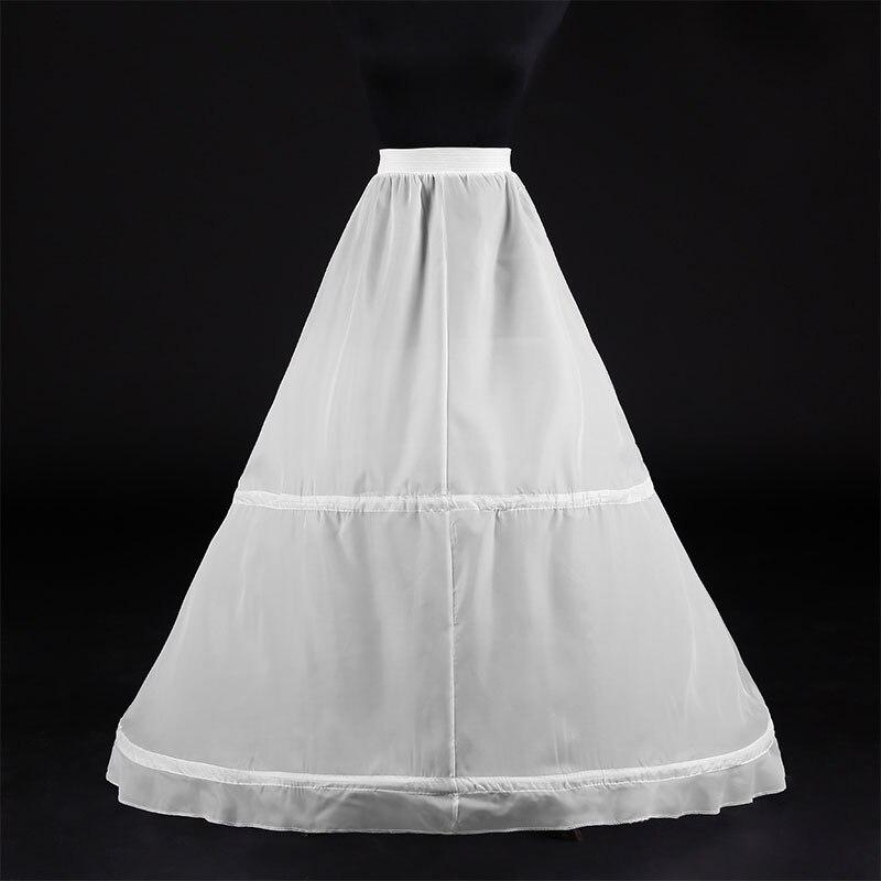 Women White 2 Hoops Petticoat A-line Wedding Accessories Bridal Crinolines Vestidos De Novia Underskirt Bustle Petticoats