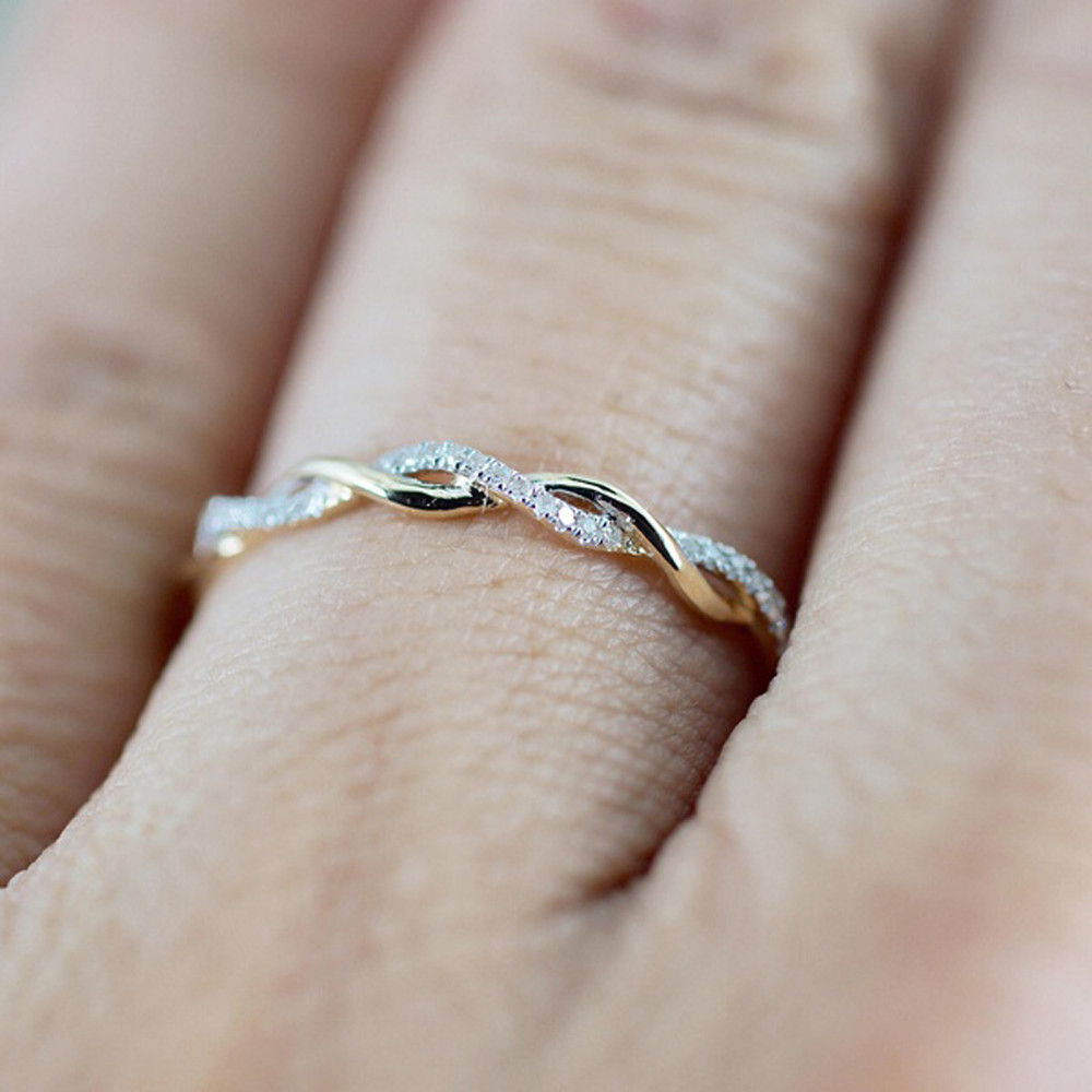 Rose Gold Color Twist Classical Cubic Zirconia Wedding Engagement Ring For Woman Girls Austrian Crystals Gift Rings Bague FemmeY