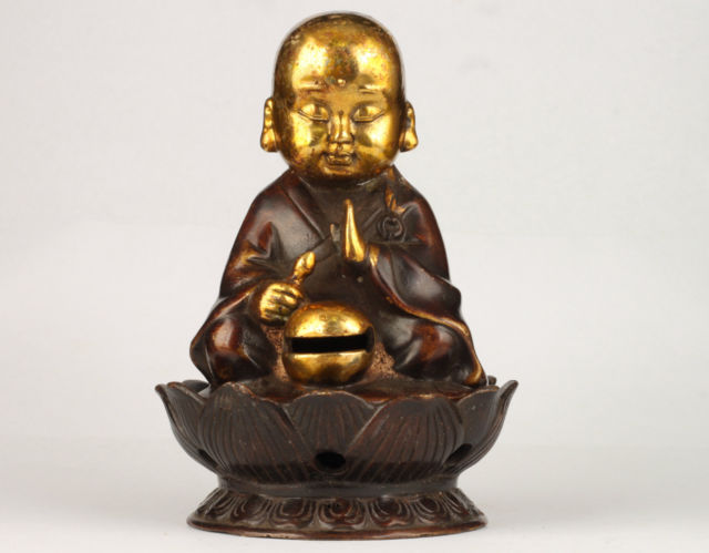 Elaborate Chinese Collection Vintage Handmade Copper Young Monk Statue