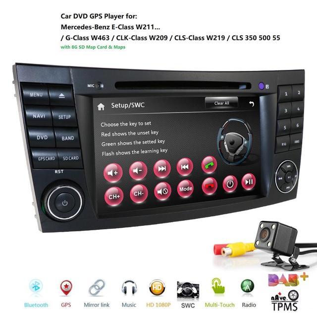 Reproductor de DVD para coche Mercedes Benz Clase E W211 W209 W219 Radio Estéreo, sistema de navegación GPS, DAB BT, USB, cámara gratis + 8gMap, novedad de 2019