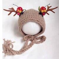 2016 Yeni Noel Bebek Şapka Tığ Bebek Bere Şapka Fotoğraf Prop, Sevimli Hediye için El Yapımı Yenidoğan Fotoğraf Bebek Kaput Prop