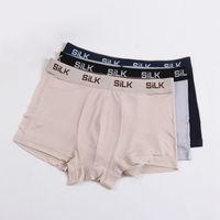 MEN BOXER Shorts 100 Natural Silk Mens Panties Healthy Solid Panties Lingerie Calcinha Briefs Underwear Calzoncillos