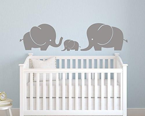 B46 Cute Elephant Family Animal For Nursery Kids Room Wall Decals Decor Removable Custom