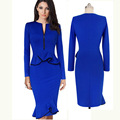Wrap Dress New Women False two piece  Long Sleeve O Neck Slim Casual Ruffles Wear to Work Pencil Dress Bandage Bodycon Vestidos