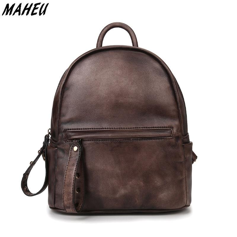 2017 Genuine Leather Woman Backpack Oil Wax Cowhide Leather Vintage Backpacks Female School Bags Travel Bags For Ladies