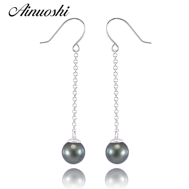 AINUOSHI Natural South Sea Black Tahiti Pearl Perfect Round Pearl Chain Drop Earring 925 Sterling Silver Women Ear Hook Earrings