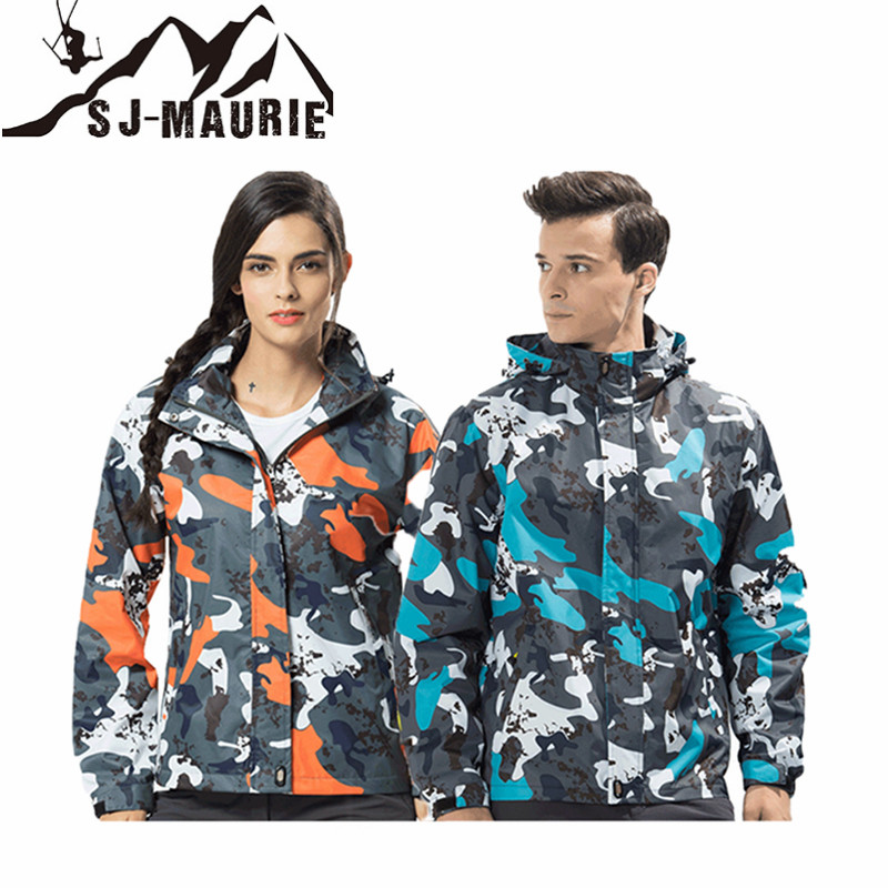 SJ-MAURIE Men Women Winter Hiking Jacket Softshell Coat Waterproof Windbreaker Trekking Jacket Winter Coat for Lover