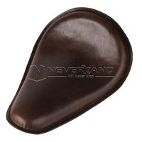 14.4x10 Brown Slimline Motorcycle Front Solo Seat For Harley Bobber Chopper Custom Synthetic Leather D35