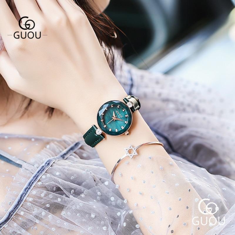 GUOU Elegant Ladies Watch Diamond Crystal Women Quartz Wristwatches Slim Leather Band 13mm Waterproof Female Clock Watches 66611 все цены