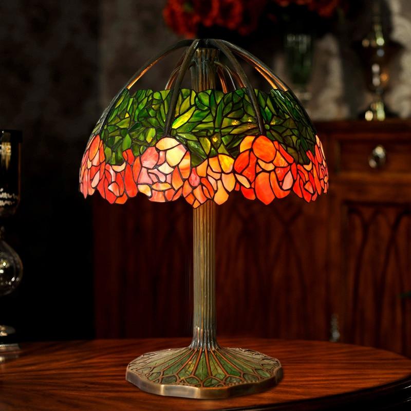 FUMAT Art Kaca Lampu Meja Lampu Berkualitas Tinggi Tembaga Murni Kaca - Pencahayaan dalam ruangan - Foto 5