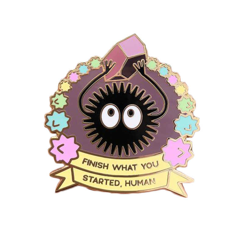Finish what you started soot sprite enamel pin cute pastel stars brooch Spirited Away badge anime jewelry