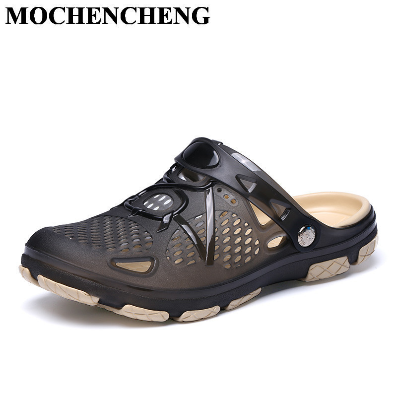 Summer New Garden Clogs Men Sandals Fashion Hollow Breathable Light Eva Slippers Soft Comfortable Non-slip Flat Casual Shoes