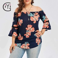 GIYI Plus Size 5XL Floral Print Chiffon Off The Shoulder Blouse Shirt Summer 2017 Blusas Flare