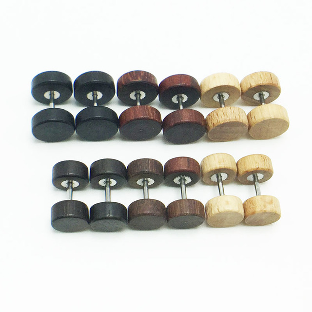 Wooden Fashion Piercing Stud earrings