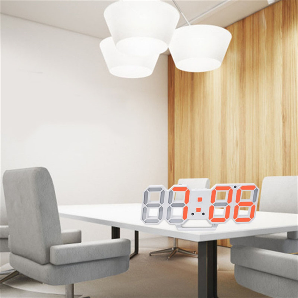 Colorful 3D LED Digital Wall Clocks 24/12 Hours Display Desktop Table Alarm Clocks With Night Light Snooze Function For Bedroom