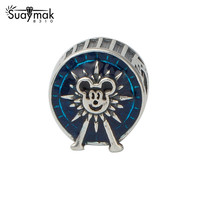 SUAYMAK 925 Sterling Silver Blue Mickey Charm Beads Compatible Fit For Pandora Bracelet Bangle DIY Beads