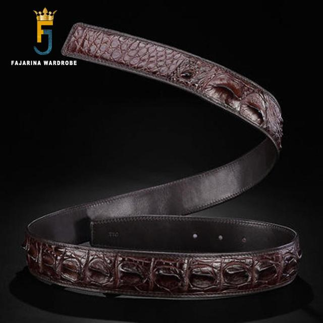 FAJARINA 2017 New Design Top Quality Real Crocodile Skin Leather Belts for Men Material Straps Belt Without Buckle BCROD001