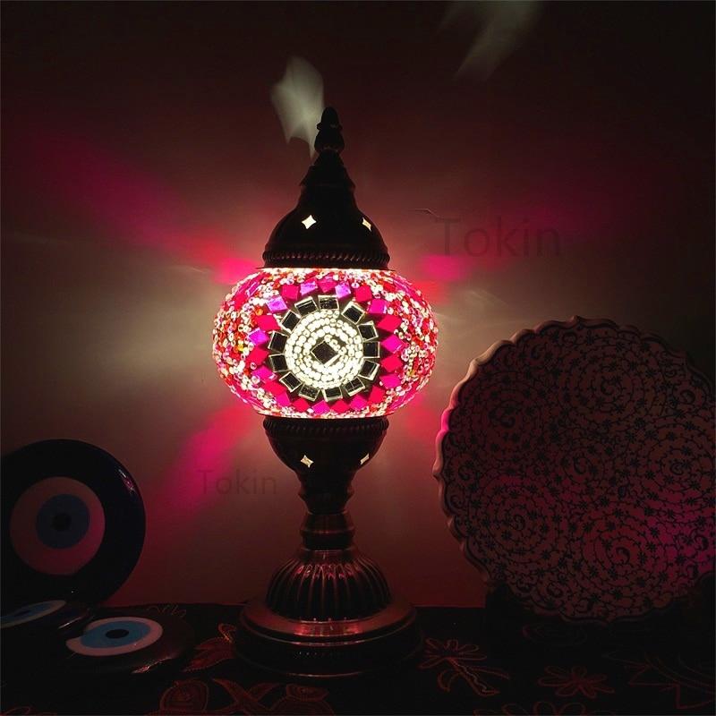 Novo Estilo Turco mosaico Candeeiro de mesa do vintage art deco Artesanais lamparas de mesa de Vidro romântico cama luz lamparas con mosaicos