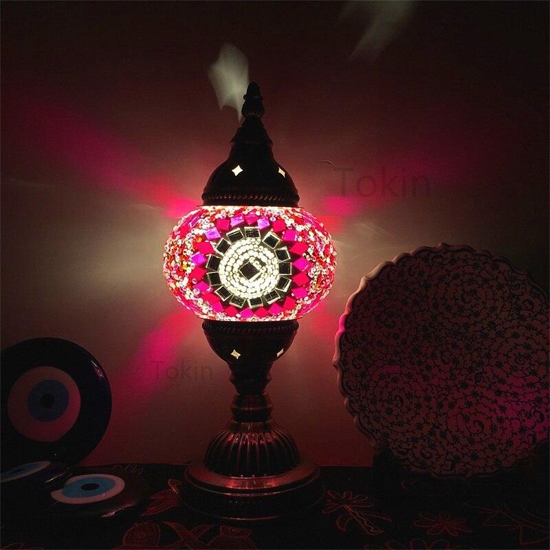 Novo estilo turco mosaico lâmpada de mesa do vintage arte deco artesanal lamparas de mesa vidro romântico cama luz lamparas com mosaicos