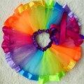 Barato Del Arco Iris de la Danza del Tutú de Pettiskirt Mullido Del Bebé de Tul Partido de Custome Danza Falda de Ballet para la Edad 1-9 años Envío de la gota