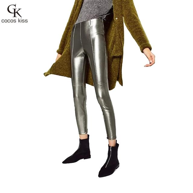 2016 Espesar Invierno Pu Pantalones de Cuero de Las Mujeres de Cintura Alta Lápiz Flaco Negro Leggings Pantalones Capris Femeninos