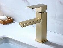 Paslanmaz çelik lavabo musluk fırçalanmış altın rengi banyo şelale musluk mikser duvar dokunun Vanity Torneira banyo musluk BL024