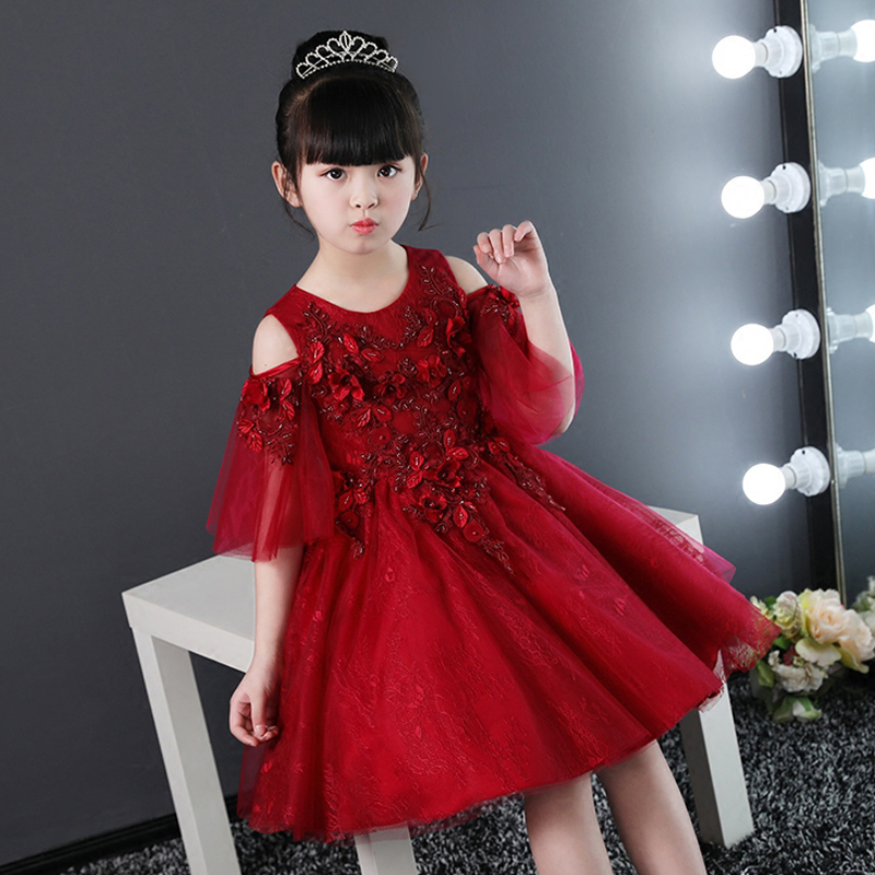 Wine Red Girl's Dress Communion Pageant Ball Gowns For Girl Appliques Floral Dresses Kids Princess Dress Knee-Length Gown AA69 floral print bodycon knee length dress