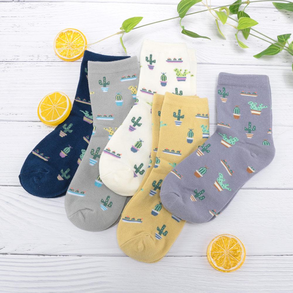 1Pair Fashion Women Plant Cactus Pattern Socks Plant Ball Harajuku Comfortable Students Girl Cotton Scok Christmas Gift