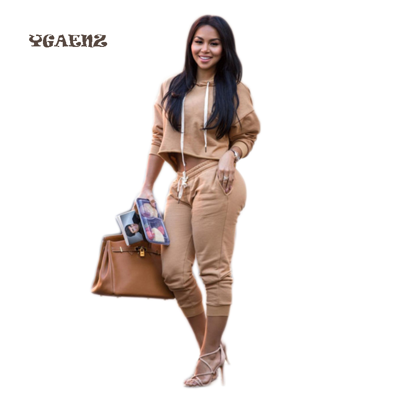 2017Fashion Style Sexy Hooded Sportswear Two Piece Set Popular 2 Piece suit Slim Suit Length Casual Rompers Sweat Suit Jumpsuits