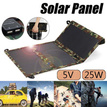 цена на 25W Solar Panels Portable Folding Foldable Waterproof Dual 5V/2.1A USB Solar Panel Charger Power Bank for Phone Battery