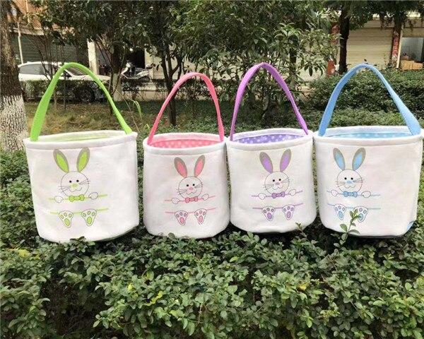 Ev ve Bahçe'ten Hediye Çantalar ve Sarma Malzemeleri'de Toptan 10 adet/grup Tuval Paskalya Sepeti Bunny paskalya kovası Boş Bunny Tote Çanta Çocuklar Hediye Mutlu paskalya tavşanı Dekorasy'da  Grup 1