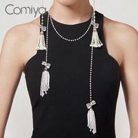 Comiya Europe Fashion Long Necklace For Women Acrylic Pearl Chains Tassel Necklaces Vintage Colar Masculino Collier